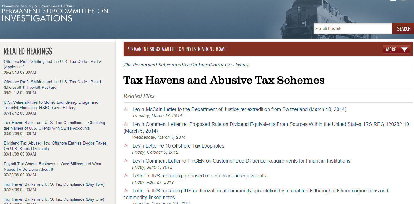 US Senate Hearings on Offshore Profit Shifting and Abusive Tax Schemes