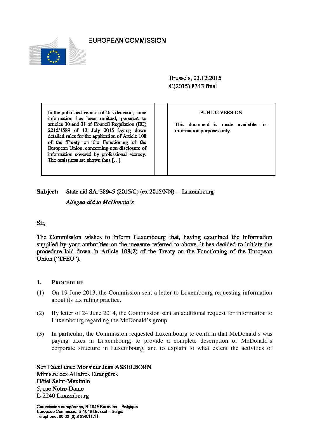 European Commission opens formal investigation into Luxembourg's tax treatment of McDonald's under EU state aid regulations, December 2015